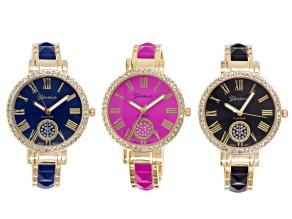 Ladies Crystal Cuff Watch Set