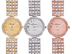 Ladies Crystal Gold Silver Rose Tone Watch Set