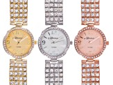 Ladies Crystal Gold Silver Rose Tone Watch Set