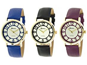 Ladies Black, Blue, Purple Watch Set