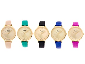 Ladies Pink, Green, Royal Blue, Tan And Black Gold Tone Watch Set