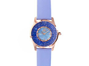 Jivago Ladies Crystal Mother Of Pearl Rose Tone Blue Leather Watch.