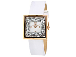 Jivago Ladies Crystal Mother Of Pearl Rose Tone White Leather Watch.