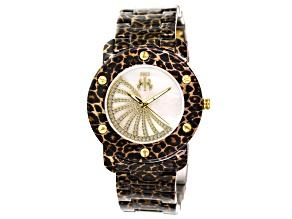Jivago Ladies Crystal Mother Of Pearl Gold Tone Leopard Print Watch.