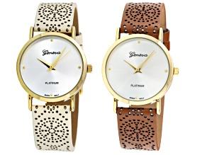 Ladies Brown White Watch Set