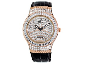 Adee Kaye White Crystal Rose Tone Brown Leather Strap Watch