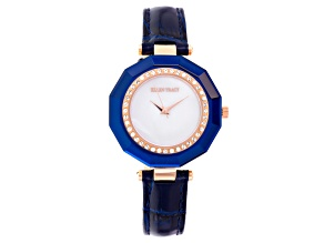 Ellen Tracy Ladies Rose Tone Blue Leather Strap Watch