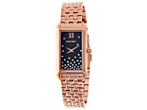 Ellen Tracy Ladies Swarovski Elements ™ Rose Tone Navy Dial Watch