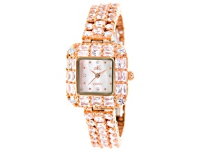 Adee Kaye Beverly Hills Rose Tone White Crystal Square Dial Watch
