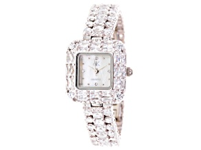 Adee Kaye Beverly Hills Silver Tone White Crystal Square Dial Watch