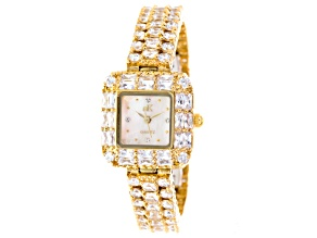 Adee Kaye Beverly Hills Yellow White Crystal Square Dial Watch