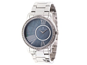 Silver Tone White Crystal Christian Van Sant Gray Mother Of Pearl Watch