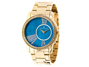 Yellow White Crystal Christian Van Sant Blue Mother Of Pearl Watch