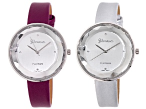 Burgaundy Silver Ladies Watch Set