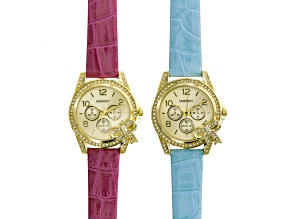 Ladies Crystal Gold Tone Pink Blue Watch Set.