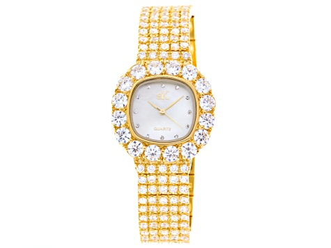 Adee Kaye Beverly Hills Ladies White Crystal Mother Of Pearl Yellow Watch