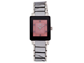 Oniss Ladies Stainless Steel And Tungsten Pink Sapphire Watch