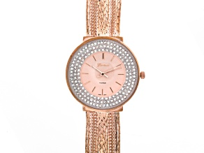 White Crystal Rose Tone Multi Strand Watch