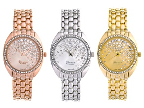 Ladies White Crystal Three Tone Panther Link Watch Set Of 3