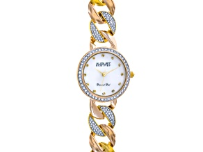 Ladies Crystal And Diamond Accent Two Tone Watch.