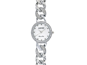 Ladies White Tone Crystal Diamond Mother Of Pearl Watch