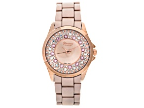 White Crystal Pink Crystal Rose Tone Matte Finish Watch
