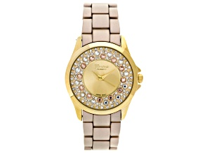 White Crystal Yellow Crystal Yellow Matte Finish Watch