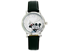 Disney ® Mickey & Minnie Mouse Ladies Silver Tone Black Strap Watch