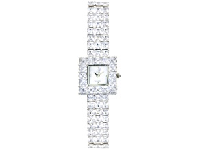 Adee Kaye Beverly Hills White Crystal Mother Of Pearl Dial Silver Tone Watch