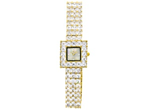 Adee Kaye Beverly Hills White Crystal Mother Of Pearl Dial Yellow Watch