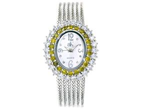 Adee Kaye Beverly Hills Diamond Simulant Silver Tone Watch