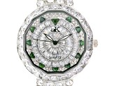 Adee Kaye Beverly Hills White And Green Crystal Silver Tone Watch