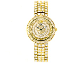 Adee Kaye Beverly Hills White Crystal Pave Dial Yellow Watch