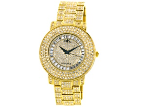Adee Kaye Beverly Hills White Crystal Yellow Watch