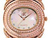 Adee Kaye Beverly Hills White Crystal Mother Of Pearl Dial Rose Tone Watch