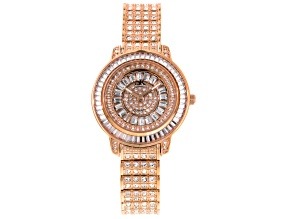 Adee Kaye Beverly Hills White Crystal Rose Gold Tone Watch
