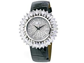 Adee Kaye Beverly Hills Diamond Simulant Black Genuine Leather Strap Watch