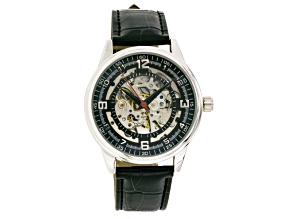 Silver Tone Black Strap Automatic Watch