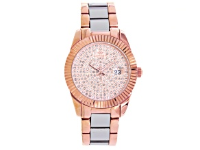 Oniss White Crystal Rose And Silver Tone Watch