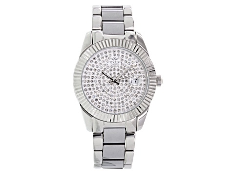 Oniss White Crystal Silver Tone Watch