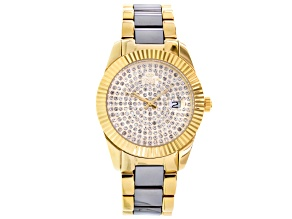 Oniss White Crystal Two Tone Watch