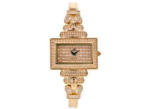 Adee Kaye Beverly Hills White Crystal Rose Tone Watch