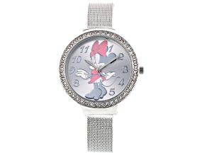 Minnie Mouse White Crystal Silver Tone Mesh Band Ladies Watch