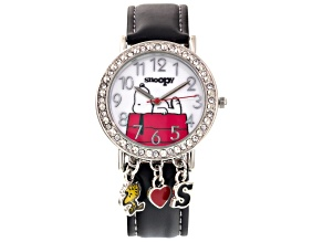 Peanuts ® Snoopy Ladies Round White Crystal Silver Tone Black Strap Charm Watch