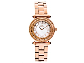 Ladies Orange Crystal Rose Tone Multi Function Watch