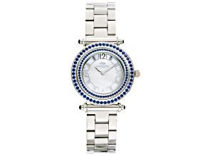 Ladies Blue Crystal Silver Tone Multi Function Watch