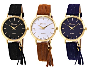 Gold Tone Brown Black And Navy Strap Watch Set Of 3