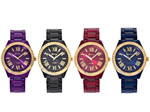 White Crystal Gray Purple Blue And Red Watch Set Of 4