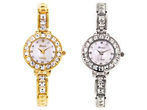 White Crystal Two Tone Watch Set Of 2