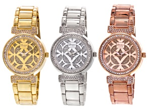 White Crystal Three Tone Watch Set Of 3